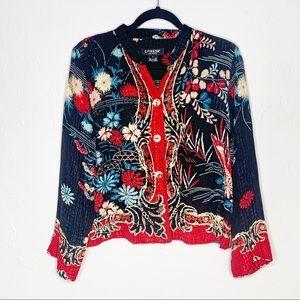 CITRON Santa Monica floral embossed silk blouse